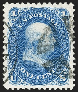 Sale Number 1192, Lot Number 198, 1875 Re-Issue of 1861-66 Issue (Scott 102-111)1c Blue, Re-Issue (102), 1c Blue, Re-Issue (102)