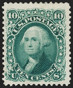 Sale Number 1192, Lot Number 203, 1875 Re-Issue of 1861-66 Issue (Scott 102-111)10c Green, Re-Issue (106), 10c Green, Re-Issue (106)