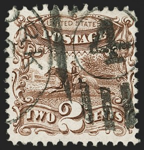 Sale Number 1192, Lot Number 225, 1875 Re-Issue of 1869 Pictorial Issue (Scott 123-133a)2c Brown, Re-Issue (124), 2c Brown, Re-Issue (124)