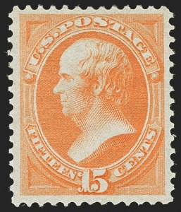 Sale Number 1192, Lot Number 250, 1870-71 National Bank Note Co. Issues (Scott 134-155)15c Bright Orange (152), 15c Bright Orange (152)