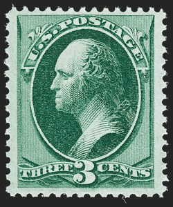 Sale Number 1192, Lot Number 255, 1873-75 Continental Bank Note Co. Issue (Scott 156-166, 171)3c Green (158). Mint N.H, 3c Green (158). Mint N.H