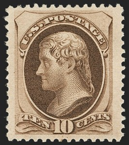 Sale Number 1192, Lot Number 265, 1879-88 American Bank Note Co. Issues (Scott 182-218)10c Brown, With Secret Mark (188), 10c Brown, With Secret Mark (188)
