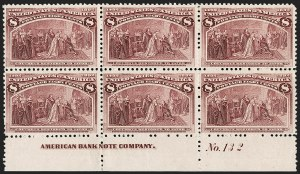 Sale Number 1192, Lot Number 301, 1893 Columbian Issue (Scott 230-245)8c Columbian (236), 8c Columbian (236)