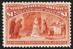 Sale Number 1192, Lot Number 305, 1893 Columbian Issue (Scott 230-245)$1.00 Columbian (241), $1.00 Columbian (241)