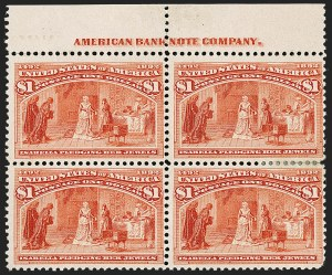 Sale Number 1192, Lot Number 307, 1893 Columbian Issue (Scott 230-245)$1.00 Columbian (241), $1.00 Columbian (241)