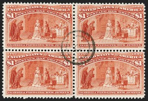 Sale Number 1192, Lot Number 309, 1893 Columbian Issue (Scott 230-245)$1.00 Columbian (241), $1.00 Columbian (241)