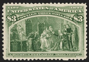 Sale Number 1192, Lot Number 312, 1893 Columbian Issue (Scott 230-245)$3.00 Columbian (243), $3.00 Columbian (243)