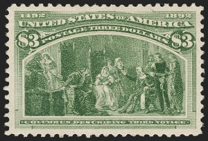 Sale Number 1192, Lot Number 313, 1893 Columbian Issue (Scott 230-245)$3.00 Columbian (243), $3.00 Columbian (243)