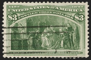 Sale Number 1192, Lot Number 314, 1893 Columbian Issue (Scott 230-245)$3.00 Columbian (243), $3.00 Columbian (243)
