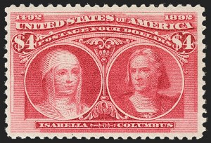 Sale Number 1192, Lot Number 316, 1893 Columbian Issue (Scott 230-245)$4.00 Columbian (244), $4.00 Columbian (244)