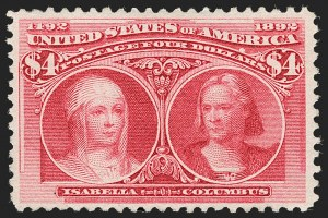 Sale Number 1192, Lot Number 317, 1893 Columbian Issue (Scott 230-245)$4.00 Columbian (244), $4.00 Columbian (244)