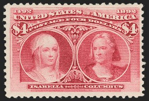 Sale Number 1192, Lot Number 318, 1893 Columbian Issue (Scott 230-245)$4.00 Columbian (244), $4.00 Columbian (244)