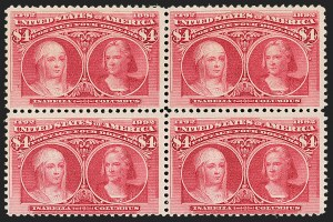 Sale Number 1192, Lot Number 319, 1893 Columbian Issue (Scott 230-245)$4.00 Columbian (244), $4.00 Columbian (244)