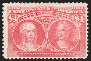 Sale Number 1192, Lot Number 320, 1893 Columbian Issue (Scott 230-245)$4.00 Rose Carmine, Columbian (244a), $4.00 Rose Carmine, Columbian (244a)