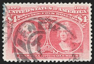 Sale Number 1192, Lot Number 321, 1893 Columbian Issue (Scott 230-245)$4.00 Rose Carmine, Columbian (244a), $4.00 Rose Carmine, Columbian (244a)