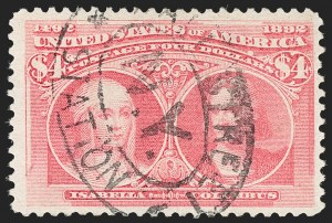Sale Number 1192, Lot Number 322, 1893 Columbian Issue (Scott 230-245)$4.00 Rose Carmine, Columbian (244a), $4.00 Rose Carmine, Columbian (244a)