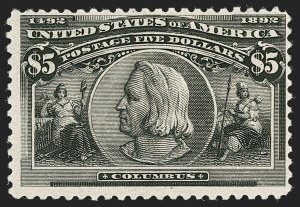 Sale Number 1192, Lot Number 323, 1893 Columbian Issue (Scott 230-245)$5.00 Columbian (245), $5.00 Columbian (245)