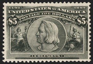 Sale Number 1192, Lot Number 325, 1893 Columbian Issue (Scott 230-245)$5.00 Columbian (245), $5.00 Columbian (245)