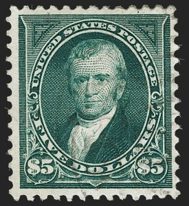 Sale Number 1192, Lot Number 346, 1894-98 Bureau Issues (Scott 246-284)$5.00 Dark Green (278), $5.00 Dark Green (278)