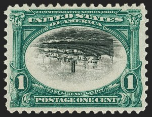Sale Number 1192, Lot Number 382, 1901 Pan-American Issue, Inverts (Scott 294a, 295a, 296a)1c Pan-American, Center Inverted (294a), 1c Pan-American, Center Inverted (294a)