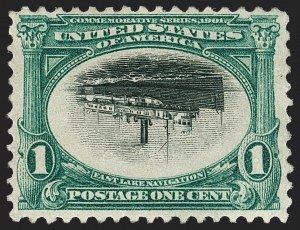 Sale Number 1192, Lot Number 385, 1901 Pan-American Issue, Inverts (Scott 294a, 295a, 296a)1c Pan-American, Center Inverted (294a), 1c Pan-American, Center Inverted (294a)