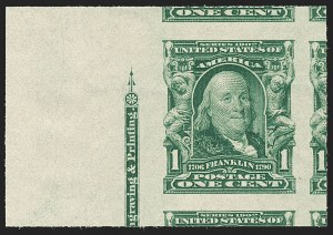 Sale Number 1192, Lot Number 397, 1902-08 Issues (Scott 300-320)1c Blue Green, Imperforate (314), 1c Blue Green, Imperforate (314)