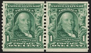Sale Number 1192, Lot Number 406, 1902-08 Issues (Scott 300-320)1c Blue Green, Horizontal Coil (318), 1c Blue Green, Horizontal Coil (318)
