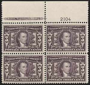 Sale Number 1192, Lot Number 409, 1904 Louisiana Purchase, 1907 Jamestown Issues (Scott 323-330)3c Louisiana Purchase (325), 3c Louisiana Purchase (325)