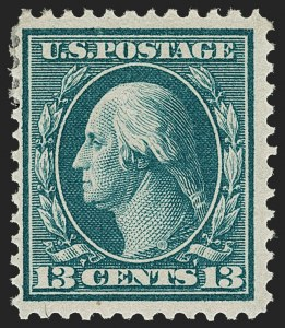 Sale Number 1192, Lot Number 446, 1909 Bluish Paper Issue (Scott 357-366)13c Bluish Green, Bluish (365), 13c Bluish Green, Bluish (365)