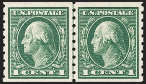 Sale Number 1192, Lot Number 478, 1912-14 Washington-Franklin Issue, incl. compound Perforations (Scott 405-423D)1c Green, Coil (412), 1c Green, Coil (412)