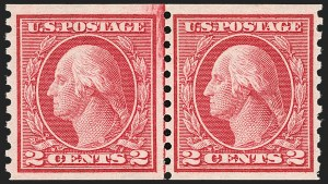Sale Number 1192, Lot Number 513, 1913-15 Washington-Franklin Issues (Scott 424-461)2c Carmine Rose, Ty. I, Coil (453), 2c Carmine Rose, Ty. I, Coil (453)
