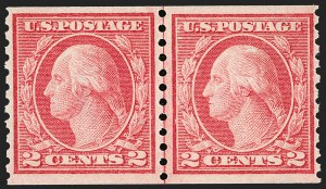 Sale Number 1192, Lot Number 514, 1913-15 Washington-Franklin Issues (Scott 424-461)2c Red, Ty. II, Coil (454), 2c Red, Ty. II, Coil (454)