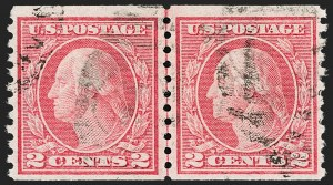 Sale Number 1192, Lot Number 516, 1913-15 Washington-Franklin Issues (Scott 424-461)2c Red, Ty. II, Coil (454), 2c Red, Ty. II, Coil (454)