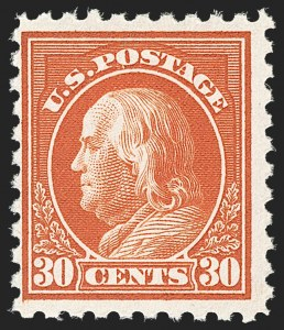 Sale Number 1192, Lot Number 538, 1916-17 Issues (Scott 462-480)30c Orange Red, Perf 10 (476A), 30c Orange Red, Perf 10 (476A)
