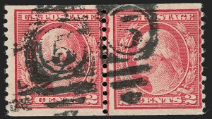 Sale Number 1192, Lot Number 543, 1917-19 Issues (Scott 481-524)2c Carmine, Ty. II, Coil (491), 2c Carmine, Ty. II, Coil (491)