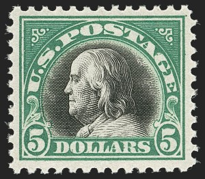 Sale Number 1192, Lot Number 587, 1917-19 Issues (Scott 481-524)$5.00 Deep Green & Black (524), $5.00 Deep Green & Black (524)