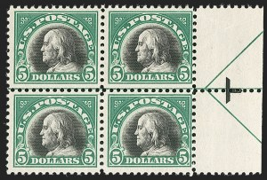 Sale Number 1192, Lot Number 588, 1917-19 Issues (Scott 481-524)$5.00 Deep Green & Black (524), $5.00 Deep Green & Black (524)