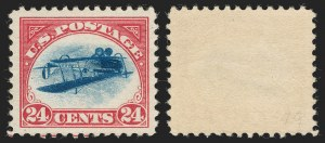 Sale Number 1192, Lot Number 644, 24c Inverted Jenny, Mint Never-Hinged, Position 49 (Scott C3a)24c Carmine Rose & Blue, Center Inverted (C3a), 24c Carmine Rose & Blue, Center Inverted (C3a)