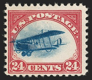 Sale Number 1192, Lot Number 647, Air Post (Scott C1-C10A)24c Carmine Rose & Blue, 1918 Air Post, Fast Plane Variety (C3 var), 24c Carmine Rose & Blue, 1918 Air Post, Fast Plane Variety (C3 var)
