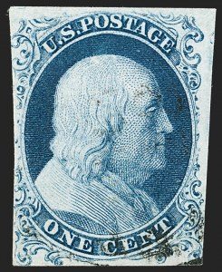 Sale Number 1192, Lot Number 74, 1851-56 Issue (Scott 5-17)1c Blue, Ty. Ia (6), 1c Blue, Ty. Ia (6)