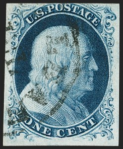 Sale Number 1192, Lot Number 77, 1851-56 Issue (Scott 5-17)1c Blue, Ty. III (8), 1c Blue, Ty. III (8)