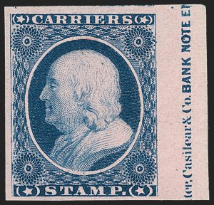 Sale Number 1192, Lot Number 772, Carriers and Locals1c Blue, Eagle Carrier, (1c) Blue on Rose, Franklin Carrier Reprint (LO2-LO3), 1c Blue, Eagle Carrier, (1c) Blue on Rose, Franklin Carrier Reprint (LO2-LO3)