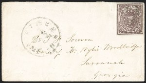 Sale Number 1192, Lot Number 869, Confederate States: Postmasters' ProvisionalsAthens Ga., 5c Purple (5X1), Athens Ga., 5c Purple (5X1)