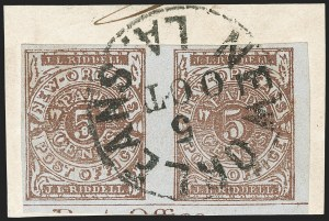 Sale Number 1192, Lot Number 879, Confederate States: Postmasters' ProvisionalsNew Orleans La., 5c Red Brown on Bluish (62X4), New Orleans La., 5c Red Brown on Bluish (62X4)