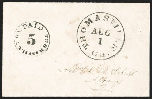 Sale Number 1192, Lot Number 883, Confederate States: Postmasters' ProvisionalsThomasville Ga., 5c Black entire (82XU2), Thomasville Ga., 5c Black entire (82XU2)