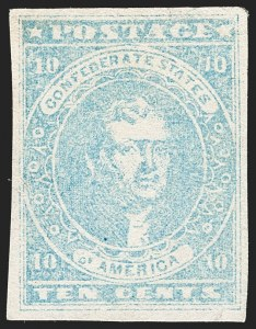 Sale Number 1192, Lot Number 889, Confederate States: General Issues off-Cover10c Light Milky Blue, Stone Y (2e), 10c Light Milky Blue, Stone Y (2e)