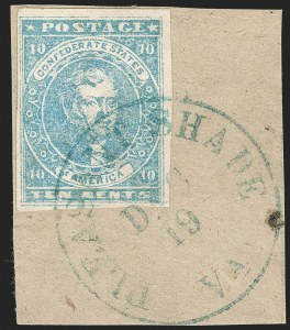 Sale Number 1192, Lot Number 890, Confederate States: General Issues off-Cover10c Greenish Blue, Stone Y (2e), 10c Greenish Blue, Stone Y (2e)