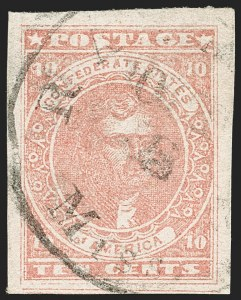 Sale Number 1192, Lot Number 902, Confederate States: General Issues off-Cover10c Rose (5), 10c Rose (5)