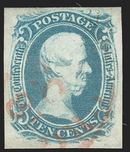 "Sale Number 1192, Lot Number 914, Confederate States: General Issues off-Cover10c Blue, ""TEN"" (9), 10c Blue, ""TEN"" (9)"