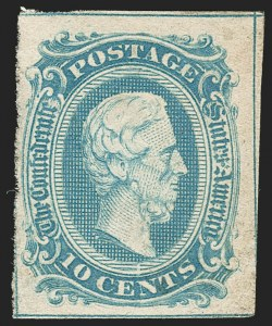 Sale Number 1192, Lot Number 916, Confederate States: General Issues off-Cover10c Blue, Frameline (10), 10c Blue, Frameline (10)